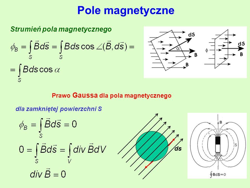 Pole magnetyczne Strumień pola magnetycznego d d Prawo Gaussa dla pola magnetycznego ds dla zamkniętej powierzchni S