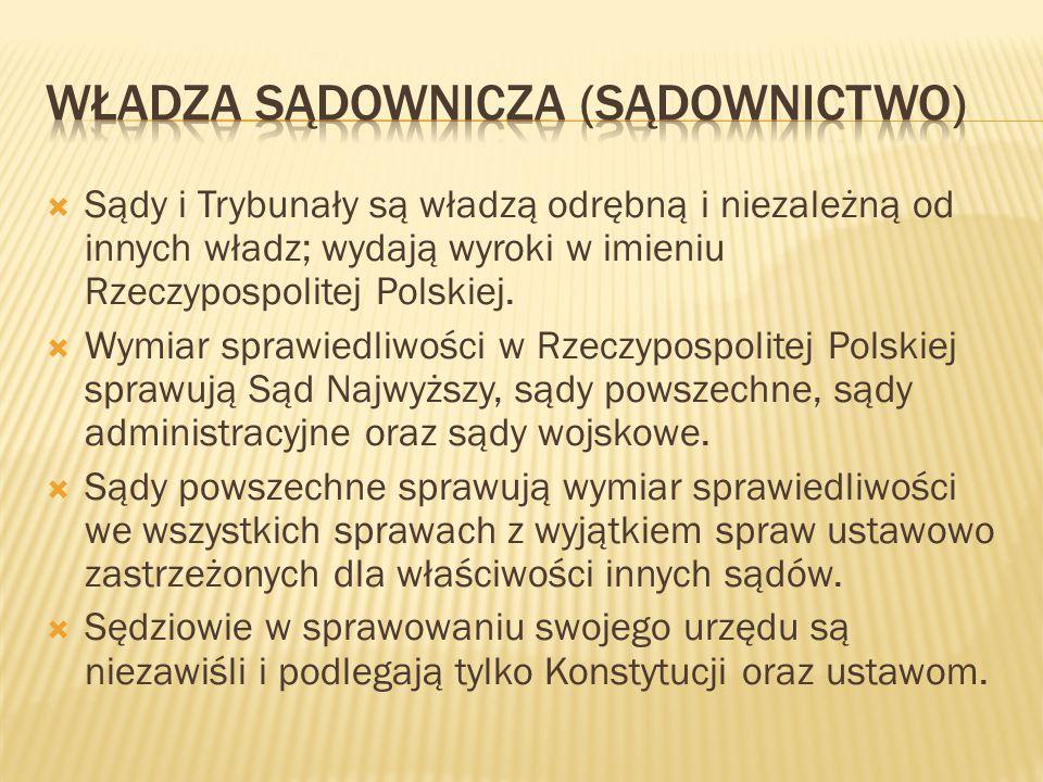  Sądy i Trybunały są władzą odrębną i niezależną od innych władz; wydają wyroki w imieniu Rzeczypospolitej Polskiej.  Wymiar sprawiedliwości w Rzecz