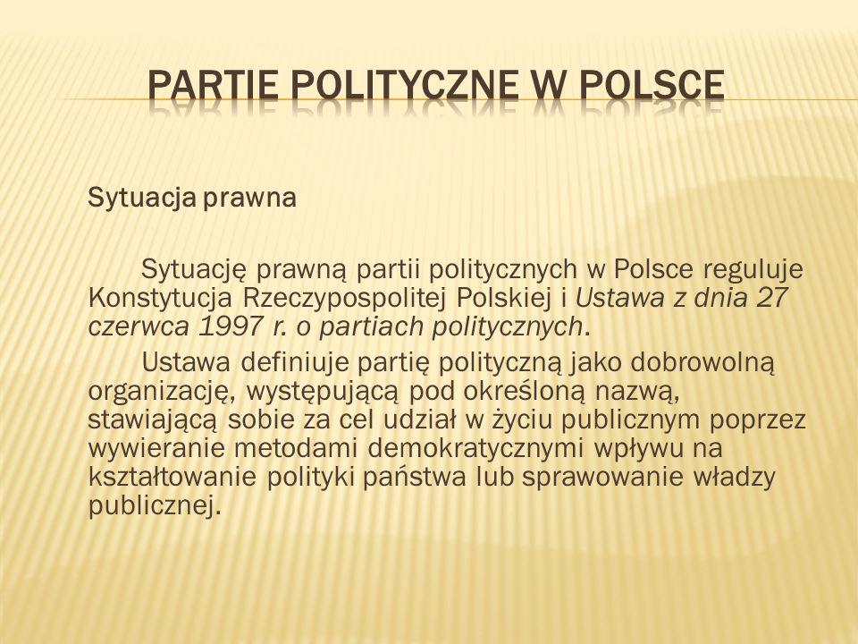 Sytuacja prawna Sytuację prawną partii politycznych w Polsce reguluje Konstytucja Rzeczypospolitej Polskiej i Ustawa z dnia 27 czerwca 1997 r. o parti