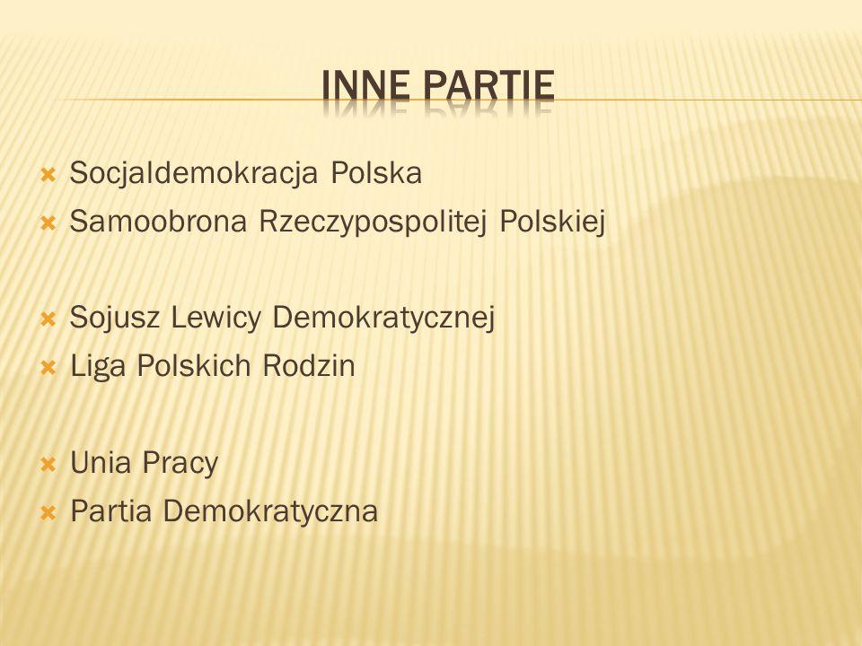 Socjaldemokracja Polska  Samoobrona Rzeczypospolitej Polskiej  Sojusz Lewicy Demokratycznej  Liga Polskich Rodzin  Unia Pracy  Partia Demokraty