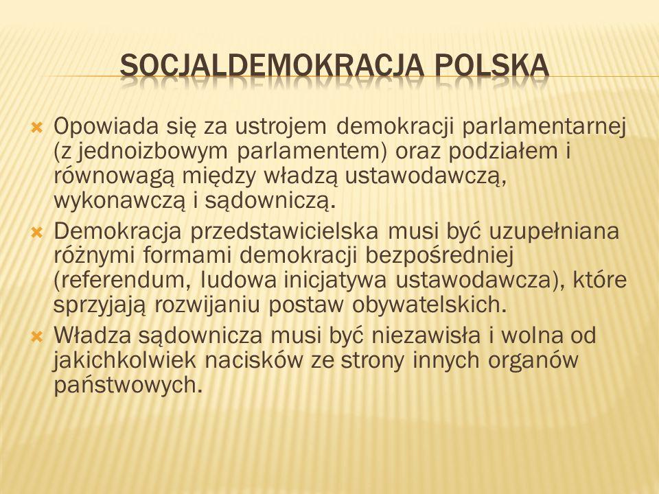  Opowiada się za ustrojem demokracji parlamentarnej (z jednoizbowym parlamentem) oraz podziałem i równowagą między władzą ustawodawczą, wykonawczą i