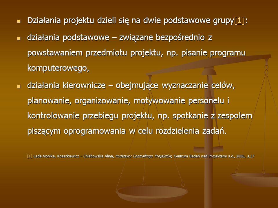 Działania projektu dzieli się na dwie podstawowe grupy[1]: Działania projektu dzieli się na dwie podstawowe grupy[1]:[1] działania podstawowe – związane bezpośrednio z powstawaniem przedmiotu projektu, np.