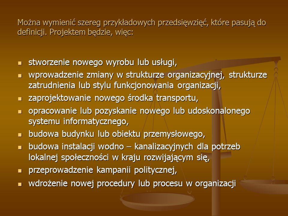 Można wymienić szereg przykładowych przedsięwzięć, które pasują do definicji. Projektem będzie, więc: stworzenie nowego wyrobu lub usługi, stworzenie