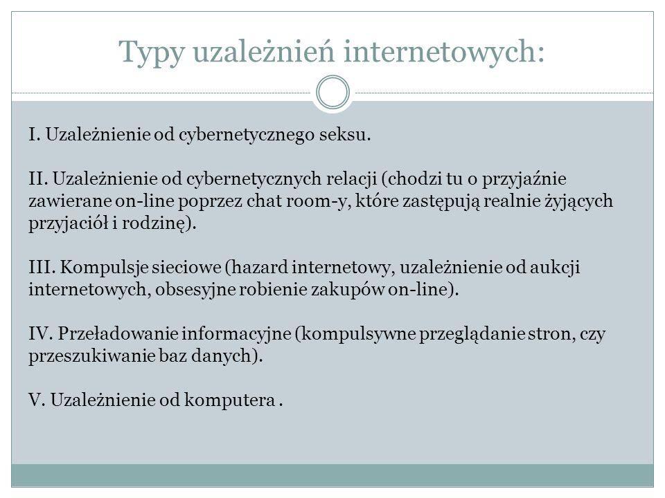 Typy uzależnień internetowych: I.Uzależnienie od cybernetycznego seksu.