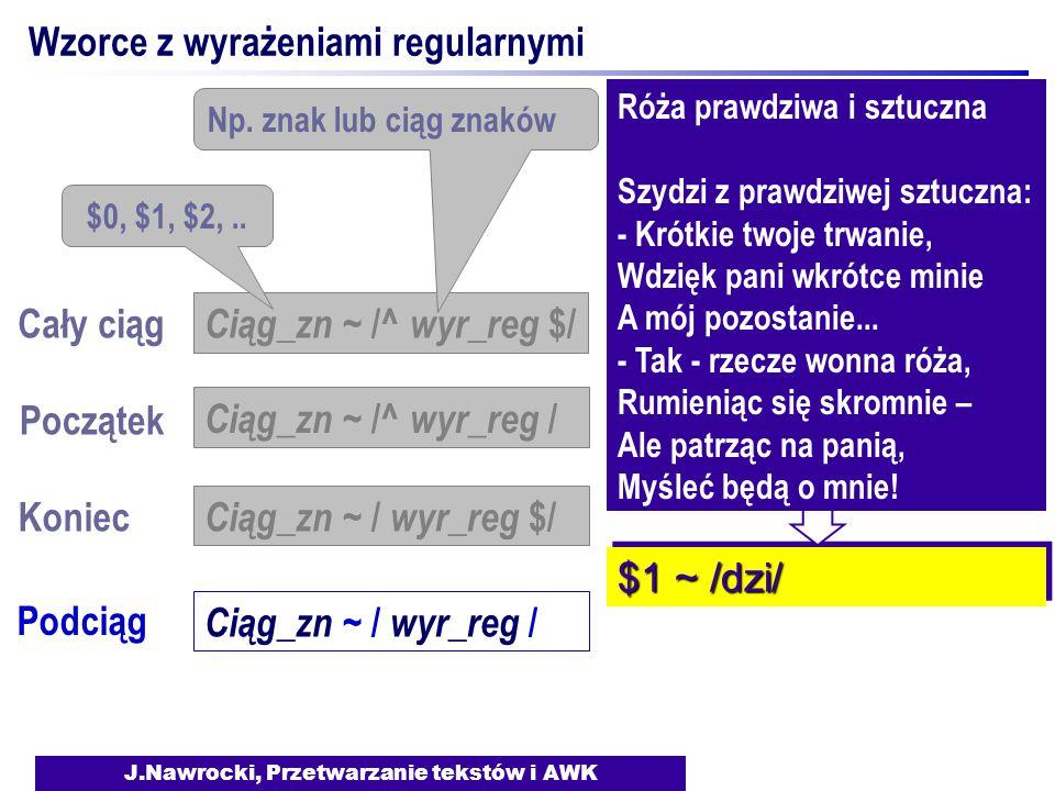 J.Nawrocki, Przetwarzanie tekstów i AWK Wzorce z wyrażeniami regularnymi Koniec Podciąg Ciąg_zn ~ / wyr_reg $/ Ciąg_zn ~ / wyr_reg / Róża prawdziwa i sztuczna Szydzi z prawdziwej sztuczna: - Krótkie twoje trwanie, Wdzięk pani wkrótce minie A mój pozostanie...