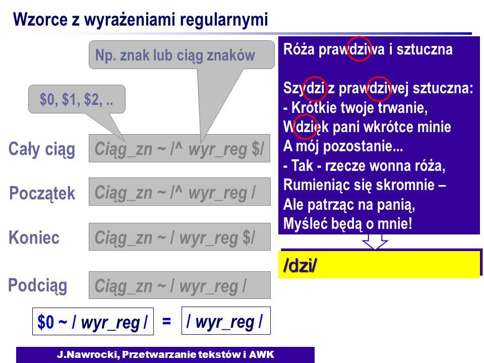 J.Nawrocki, Przetwarzanie tekstów i AWK Wzorce z wyrażeniami regularnymi Koniec Podciąg Ciąg_zn ~ / wyr_reg $/ Ciąg_zn ~ / wyr_reg / Ciąg_zn ~ /^ wyr_reg $/ $0, $1, $2,..