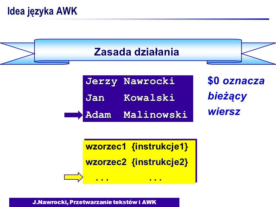 J.Nawrocki, Przetwarzanie tekstów i AWK Przykładowe zmienne wbudowane NF - liczba pól w wierszu NR - numer wiersza FILENAME - nazwa pliku