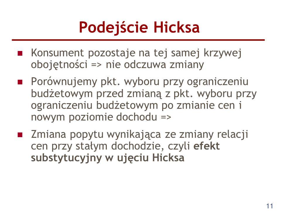 11 Podejście Hicksa Konsument pozostaje na tej samej krzywej obojętności => nie odczuwa zmiany Porównujemy pkt. wyboru przy ograniczeniu budżetowym pr