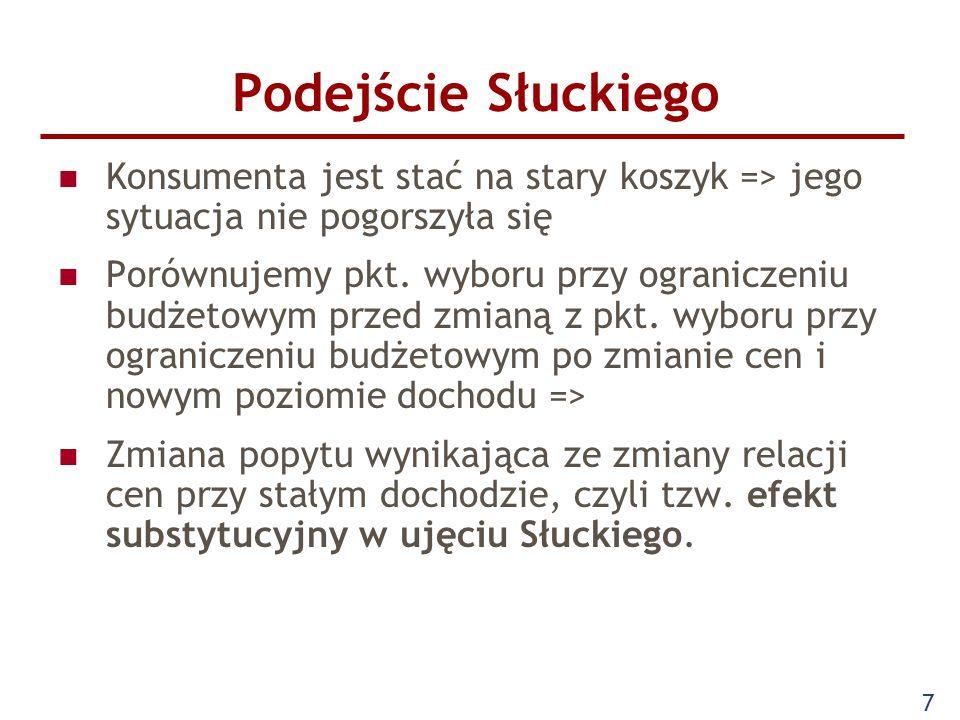 8 Podejście Słuckiego Jaka powinna być zmiana dochodu, aby po zmianie cen stary koszyk był dostępny.