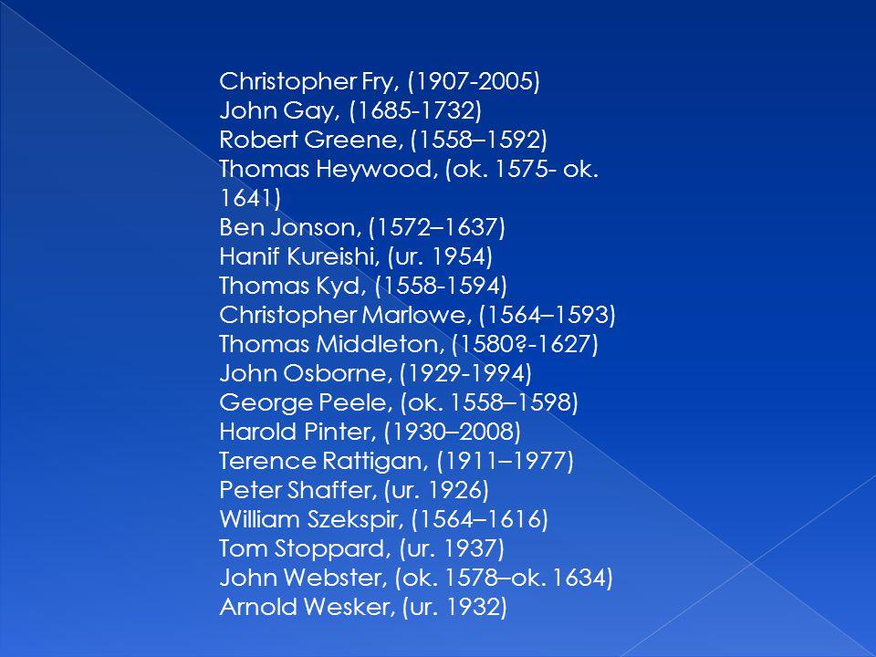 Christopher Fry, (1907-2005) John Gay, (1685-1732) Robert Greene, (1558–1592) Thomas Heywood, (ok. 1575- ok. 1641) Ben Jonson, (1572–1637) Hanif Kurei