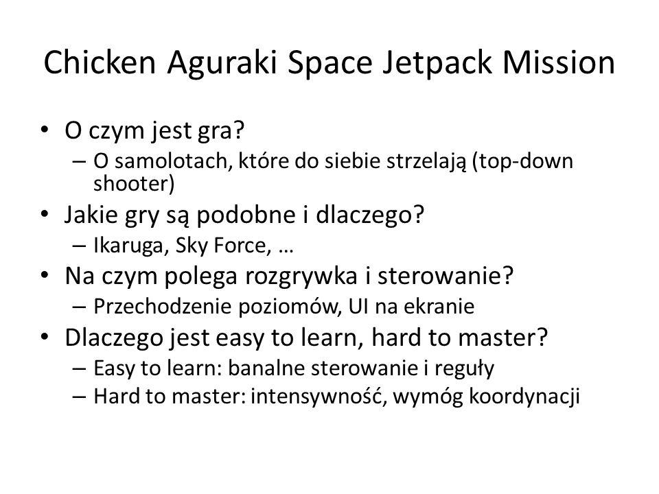 Chicken Aguraki Space Jetpack Mission O czym jest gra? – O samolotach, które do siebie strzelają (top-down shooter) Jakie gry są podobne i dlaczego? –