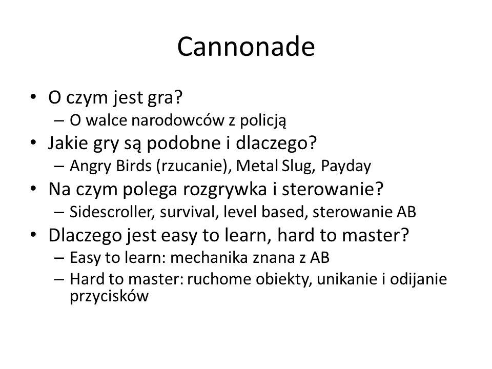 Cannonade O czym jest gra? – O walce narodowców z policją Jakie gry są podobne i dlaczego? – Angry Birds (rzucanie), Metal Slug, Payday Na czym polega