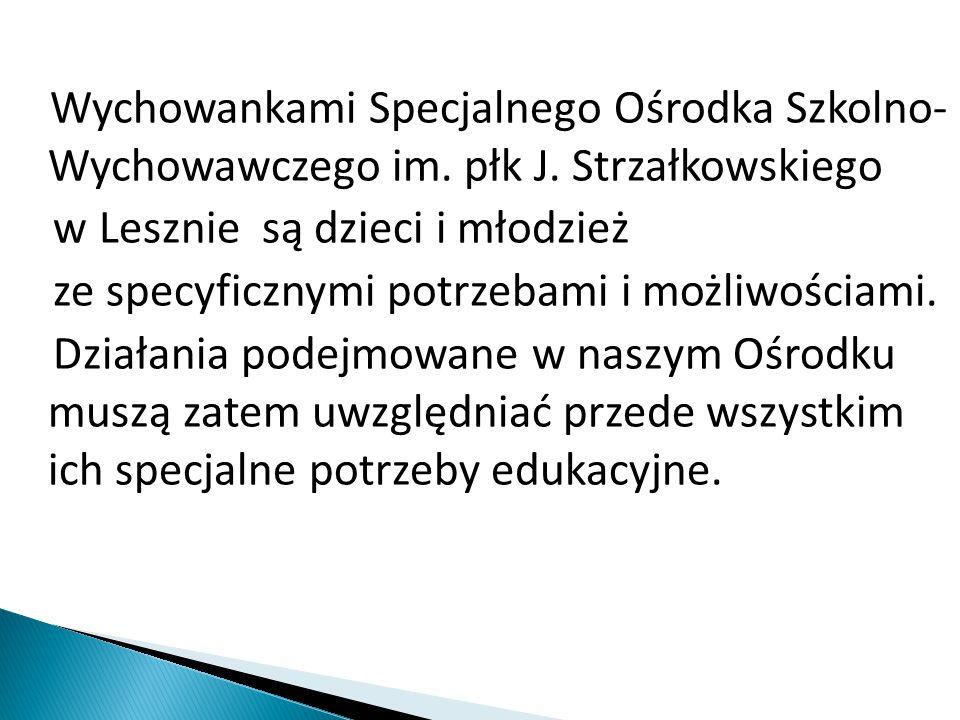 Wychowankami Specjalnego Ośrodka Szkolno- Wychowawczego im. płk J. Strzałkowskiego w Lesznie są dzieci i młodzież ze specyficznymi potrzebami i możliw