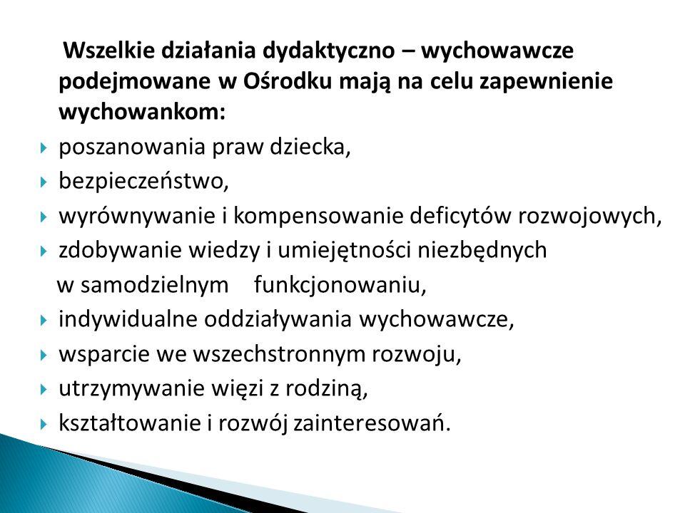 Wszelkie działania dydaktyczno – wychowawcze podejmowane w Ośrodku mają na celu zapewnienie wychowankom:  poszanowania praw dziecka,  bezpieczeństwo