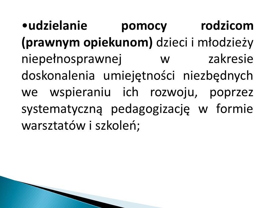 udzielanie pomocy rodzicom (prawnym opiekunom) dzieci i młodzieży niepełnosprawnej w zakresie doskonalenia umiejętności niezbędnych we wspieraniu ich rozwoju, poprzez systematyczną pedagogizację w formie warsztatów i szkoleń;