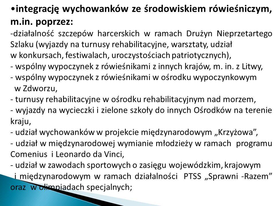 integrację wychowanków ze środowiskiem rówieśniczym, m.in.