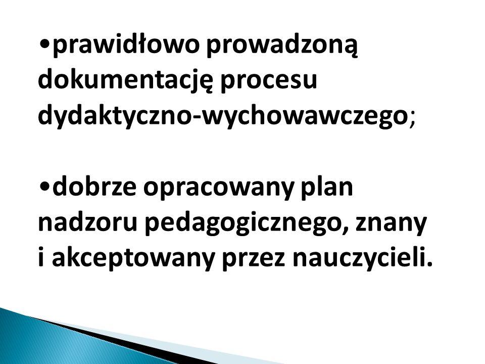 prawidłowo prowadzoną dokumentację procesu dydaktyczno-wychowawczego; dobrze opracowany plan nadzoru pedagogicznego, znany i akceptowany przez nauczyc