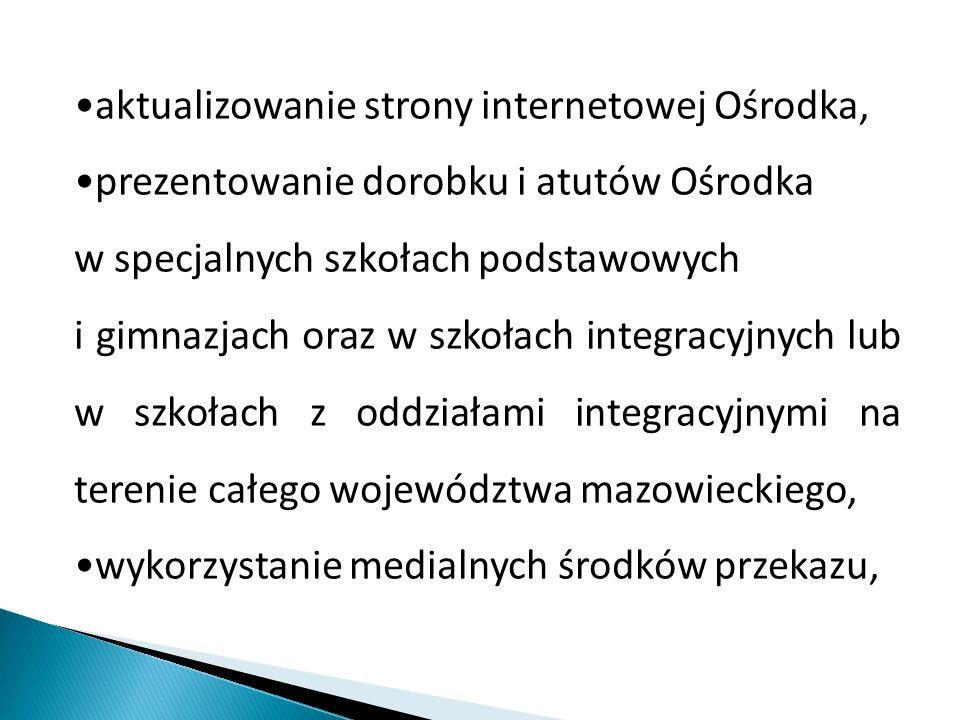 aktualizowanie strony internetowej Ośrodka, prezentowanie dorobku i atutów Ośrodka w specjalnych szkołach podstawowych i gimnazjach oraz w szkołach integracyjnych lub w szkołach z oddziałami integracyjnymi na terenie całego województwa mazowieckiego, wykorzystanie medialnych środków przekazu,