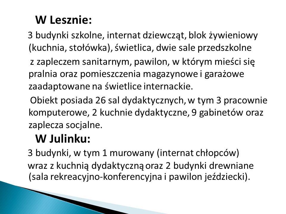 W Lesznie: 3 budynki szkolne, internat dziewcząt, blok żywieniowy (kuchnia, stołówka), świetlica, dwie sale przedszkolne z zapleczem sanitarnym, pawil