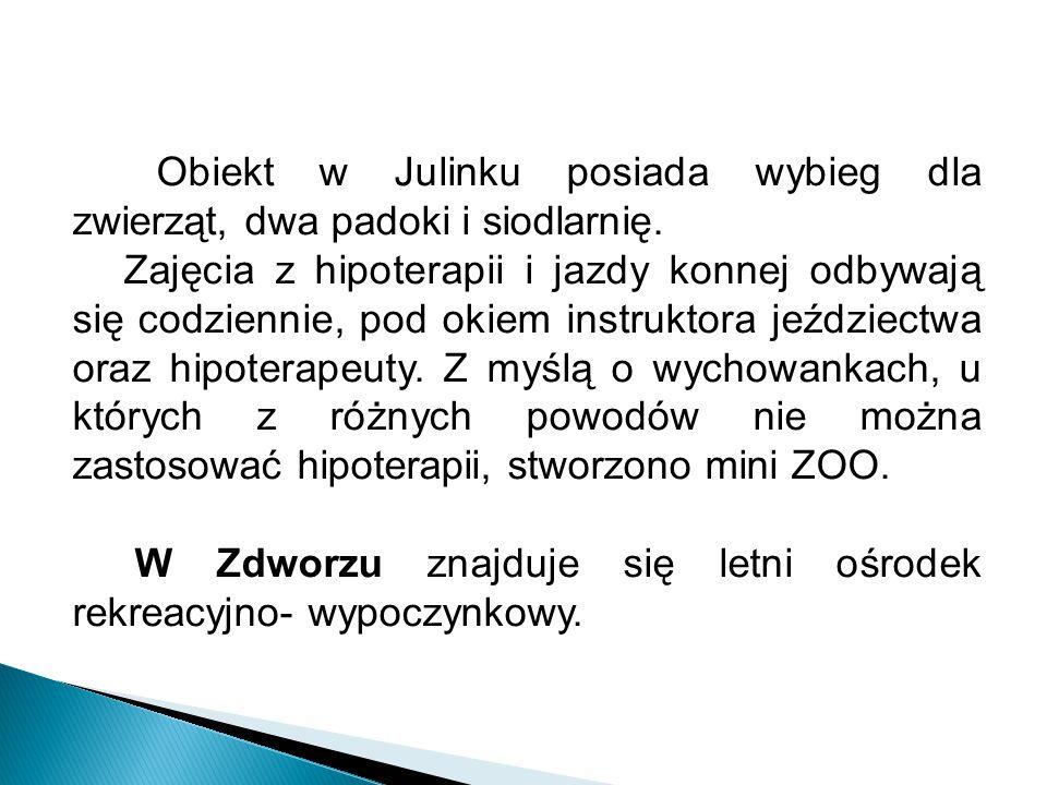 ATUTY OŚRODKA:  położenie Ośrodka w otulinie Kampinoskiego Parku Narodowego,  dobrze rozwinięta infrastruktura i baza dydaktyczna,  rozległy teren rekreacyjny,  dogodny dojazd z Warszawy, Sochaczewa, Błonia, Nowego Dworu Mazowieckiego,  wieloletnia tradycja,  wysoko wyspecjalizowana kadra,  szeroka oferta dydaktyczna,  budynki Ośrodka pozbawione barier architektonicznych, przystosowane do potrzeb niepełnosprawnych ruchowo (winda, podjazdy, barierki)