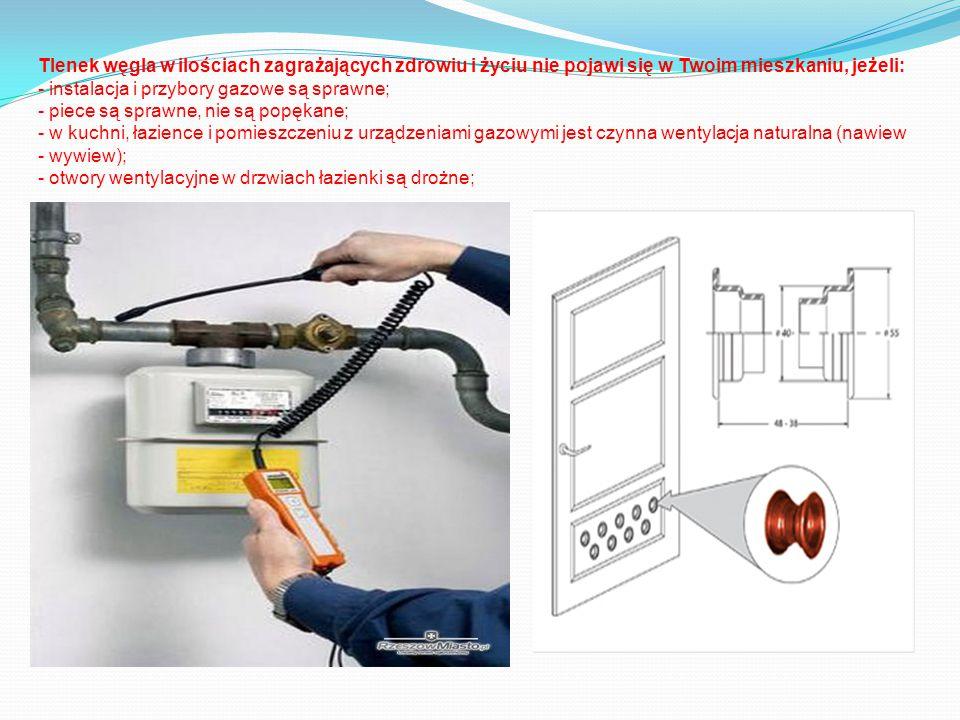 Tlenek węgla w ilościach zagrażających zdrowiu i życiu nie pojawi się w Twoim mieszkaniu, jeżeli: - instalacja i przybory gazowe są sprawne; - piece s