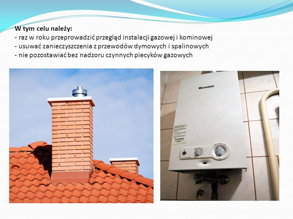 W tym celu należy: - raz w roku przeprowadzić przegląd instalacji gazowej i kominowej - usuwać zanieczyszczenia z przewodów dymowych i spalinowych - n