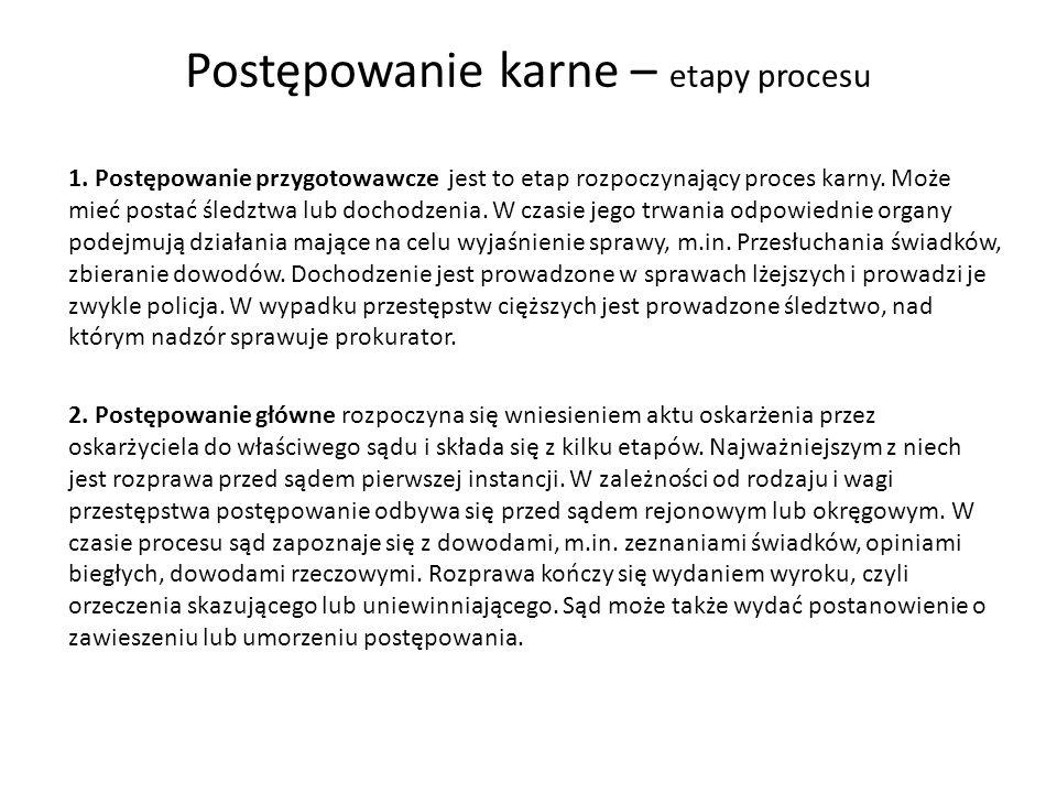 Postępowanie karne – etapy procesu 3.