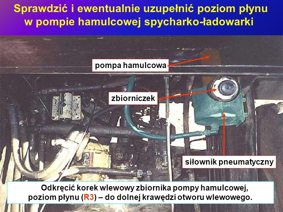 Sprawdzić i ewentualnie uzupełnić poziom płynu w pompie hamulcowej spycharko-ładowarki Odkręcić korek wlewowy zbiornika pompy hamulcowej, poziom płynu (R3) – do dolnej krawędzi otworu wlewowego.
