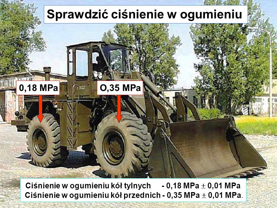 Sprawdzić ciśnienie w ogumieniu Ciśnienie w ogumieniu kół tylnych - 0,18 MPa  0,01 MPa Ciśnienie w ogumieniu kół przednich - 0,35 MPa  0,01 MPa.