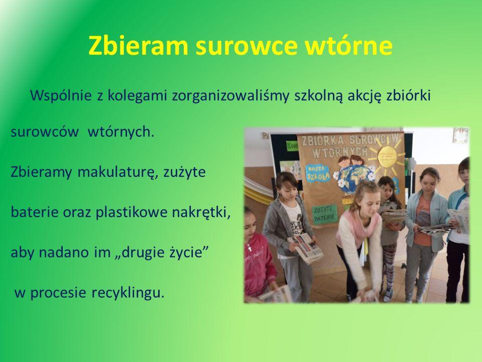 Zbieram surowce wtórne Wspólnie z kolegami zorganizowaliśmy szkolną akcję zbiórki surowców wtórnych. Zbieramy makulaturę, zużyte baterie oraz plastiko