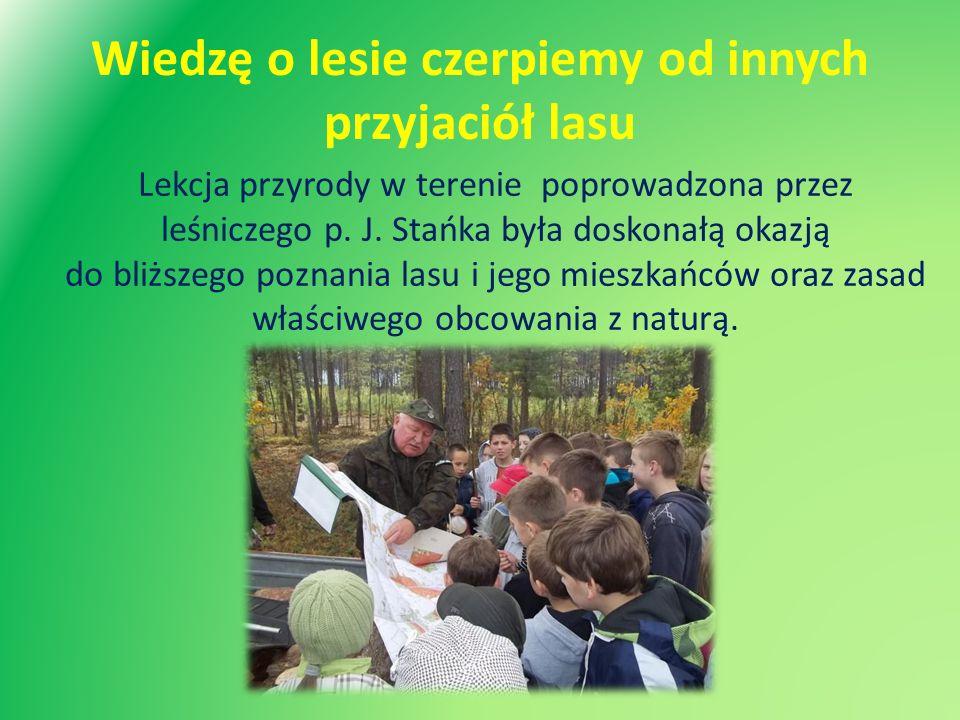 Wiedzę o lesie czerpiemy od innych przyjaciół lasu Lekcja przyrody w terenie poprowadzona przez leśniczego p. J. Stańka była doskonałą okazją do bliżs