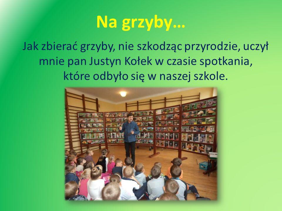 Na grzyby… Jak zbierać grzyby, nie szkodząc przyrodzie, uczył mnie pan Justyn Kołek w czasie spotkania, które odbyło się w naszej szkole.