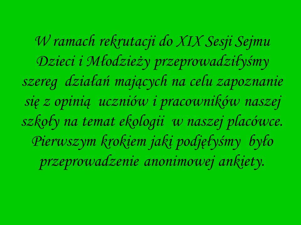W ramach rekrutacji do XIX Sesji Sejmu Dzieci i Młodzieży przeprowadziłyśmy szereg działań mających na celu zapoznanie się z opinią uczniów i pracowni