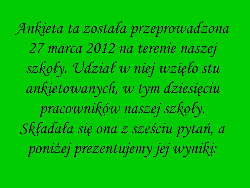 Ankieta ta została przeprowadzona 27 marca 2012 na terenie naszej szkoły. Udział w niej wzięło stu ankietowanych, w tym dziesięciu pracowników naszej
