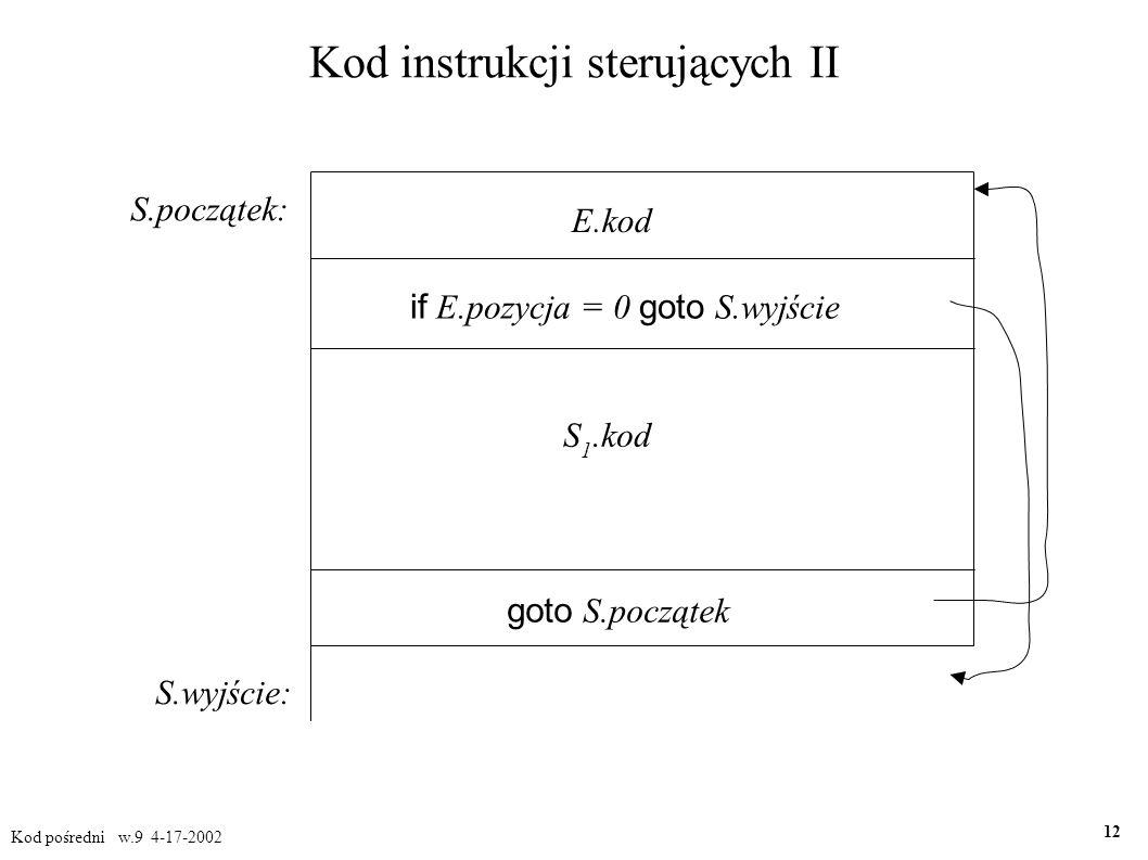 Kod instrukcji sterujących II Kod pośredni w.9 4-17-2002 12 S.początek: S.wyjście: E.kod if E.pozycja = 0 goto S.wyjście S 1.kod goto S.początek