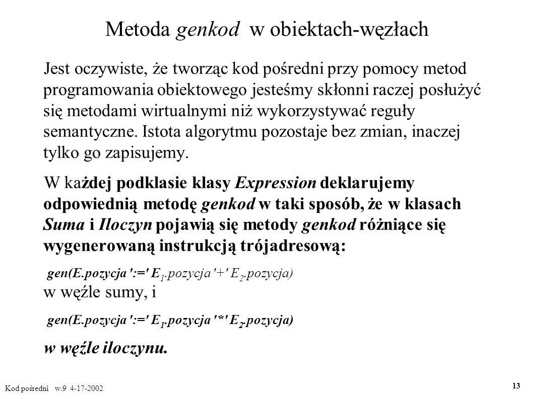 Metoda genkod w obiektach-węzłach Jest oczywiste, że tworząc kod pośredni przy pomocy metod programowania obiektowego jesteśmy skłonni raczej posłużyć się metodami wirtualnymi niż wykorzystywać reguły semantyczne.
