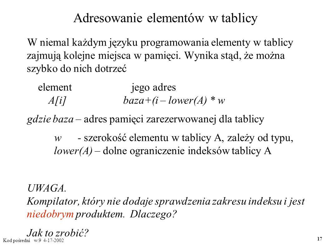 Adresowanie elementów w tablicy W niemal każdym języku programowania elementy w tablicy zajmują kolejne miejsca w pamięci.