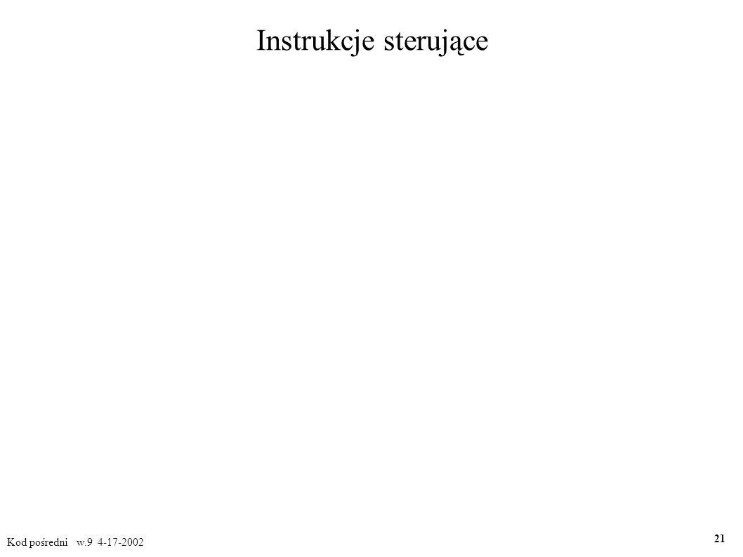 Instrukcje sterujące Kod pośredni w.9 4-17-2002 21