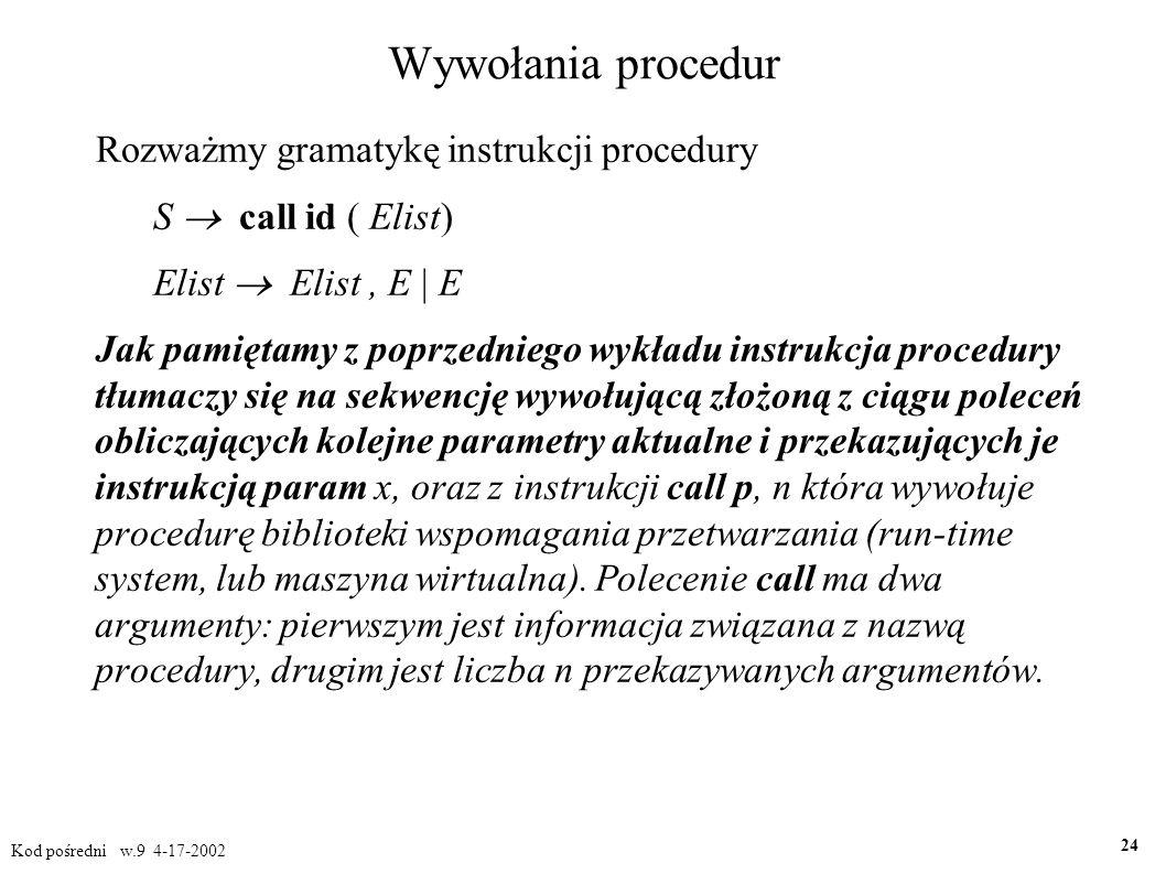 Wywołania procedur Rozważmy gramatykę instrukcji procedury S  call id ( Elist) Elist  Elist, E | E Jak pamiętamy z poprzedniego wykładu instrukcja procedury tłumaczy się na sekwencję wywołującą złożoną z ciągu poleceń obliczających kolejne parametry aktualne i przekazujących je instrukcją param x, oraz z instrukcji call p, n która wywołuje procedurę biblioteki wspomagania przetwarzania (run-time system, lub maszyna wirtualna).