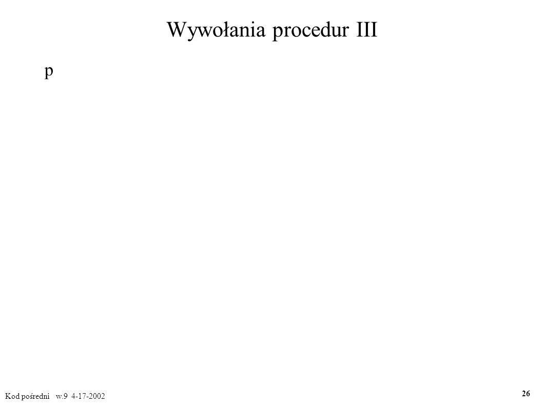 Wywołania procedur III p Kod pośredni w.9 4-17-2002 26