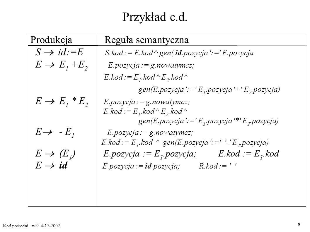 Tworzenie kodu dla wyrażeń logicznych Kod pośredni w.9 4-17-2002 20