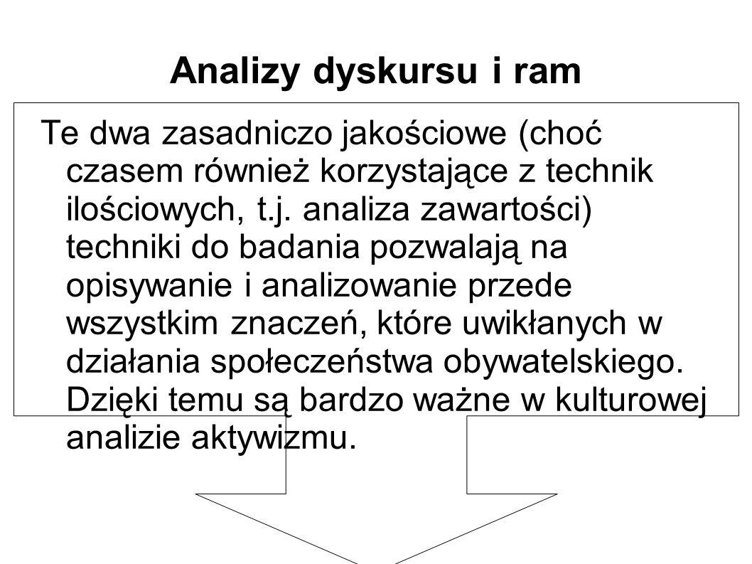 Analizy dyskursu i ram Te dwa zasadniczo jakościowe (choć czasem również korzystające z technik ilościowych, t.j.