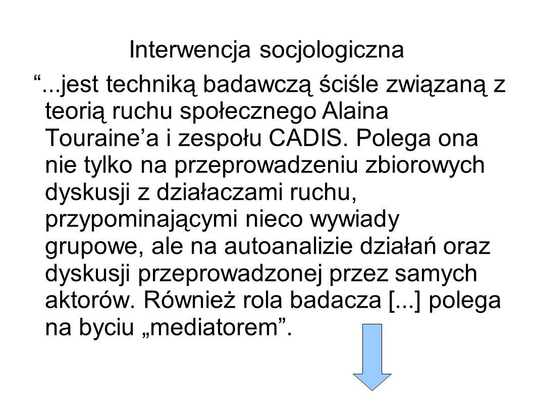 Interwencja socjologiczna ...jest techniką badawczą ściśle związaną z teorią ruchu społecznego Alaina Touraine'a i zespołu CADIS.