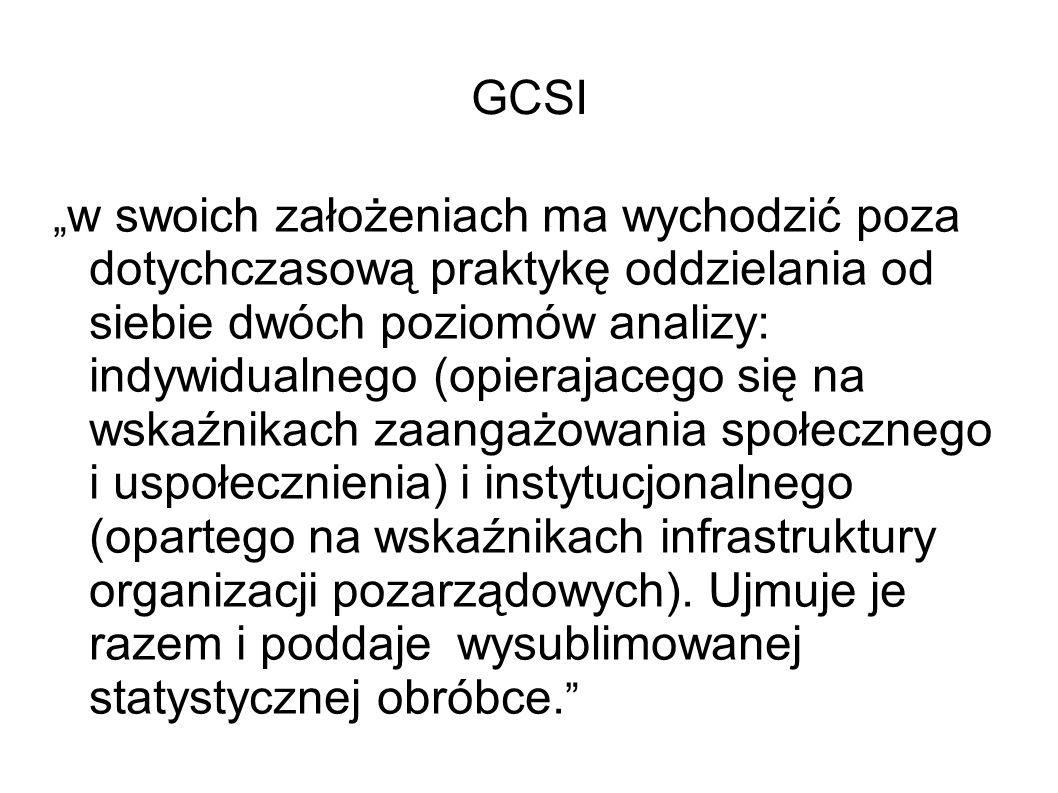 """GCSI """" w swoich założeniach ma wychodzić poza dotychczasową praktykę oddzielania od siebie dwóch poziomów analizy: indywidualnego (opierajacego się na wskaźnikach zaangażowania społecznego i uspołecznienia) i instytucjonalnego (opartego na wskaźnikach infrastruktury organizacji pozarządowych)."""
