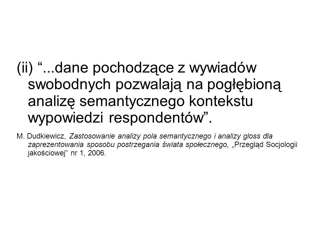 (ii) ...dane pochodzące z wywiadów swobodnych pozwalają na pogłębioną analizę semantycznego kontekstu wypowiedzi respondentów .