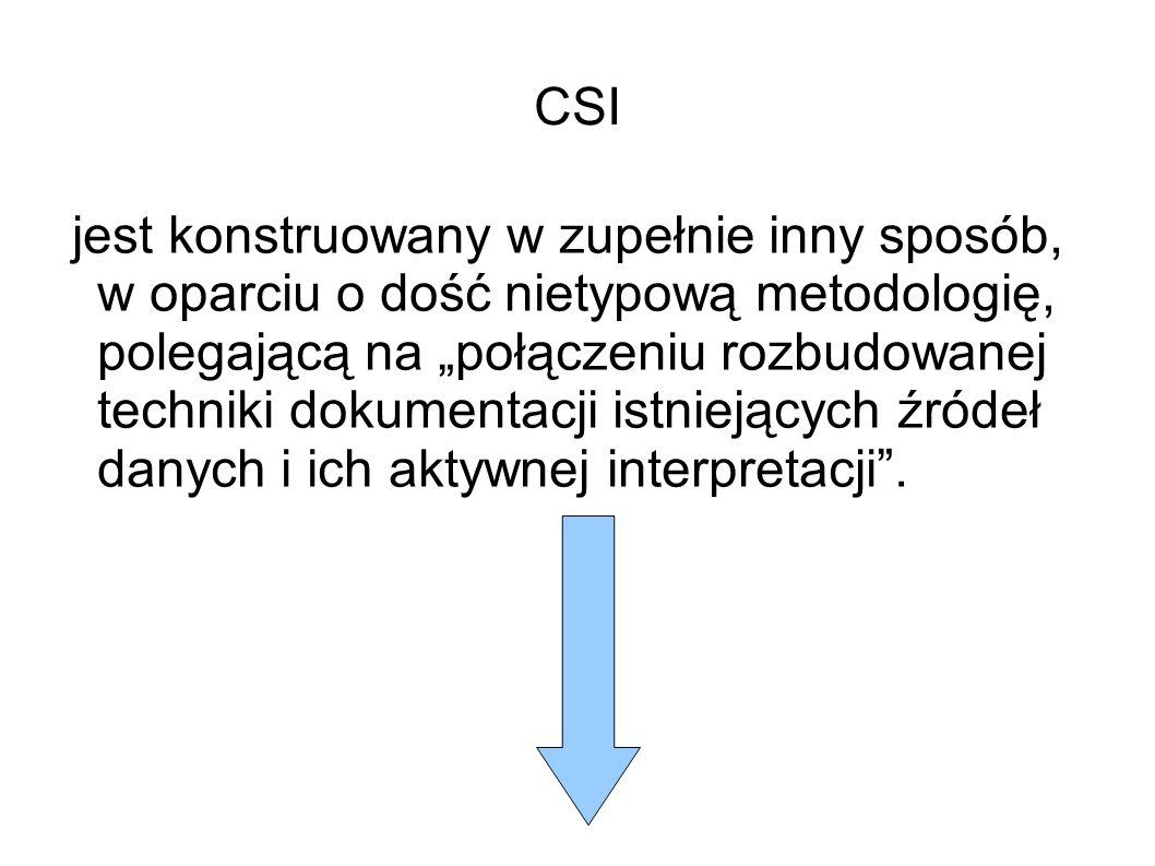 """CSI jest konstruowany w zupełnie inny sposób, w oparciu o dość nietypową metodologię, polegającą na """"połączeniu rozbudowanej techniki dokumentacji istniejących źródeł danych i ich aktywnej interpretacji ."""