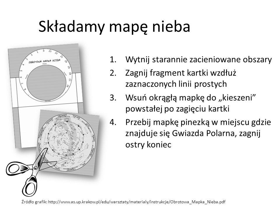 """Składamy mapę nieba 1.Wytnij starannie zacieniowane obszary 2.Zagnij fragment kartki wzdłuż zaznaczonych linii prostych 3.Wsuń okrągłą mapkę do """"kiesz"""
