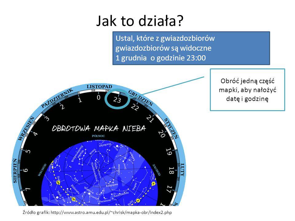 Jak to działa? Źródło grafik: http://www.astro.amu.edu.pl/~chrisk/mapka-obr/index2.php Ustal, które z gwiazdozbiorów gwiazdozbiorów są widoczne 1 grud