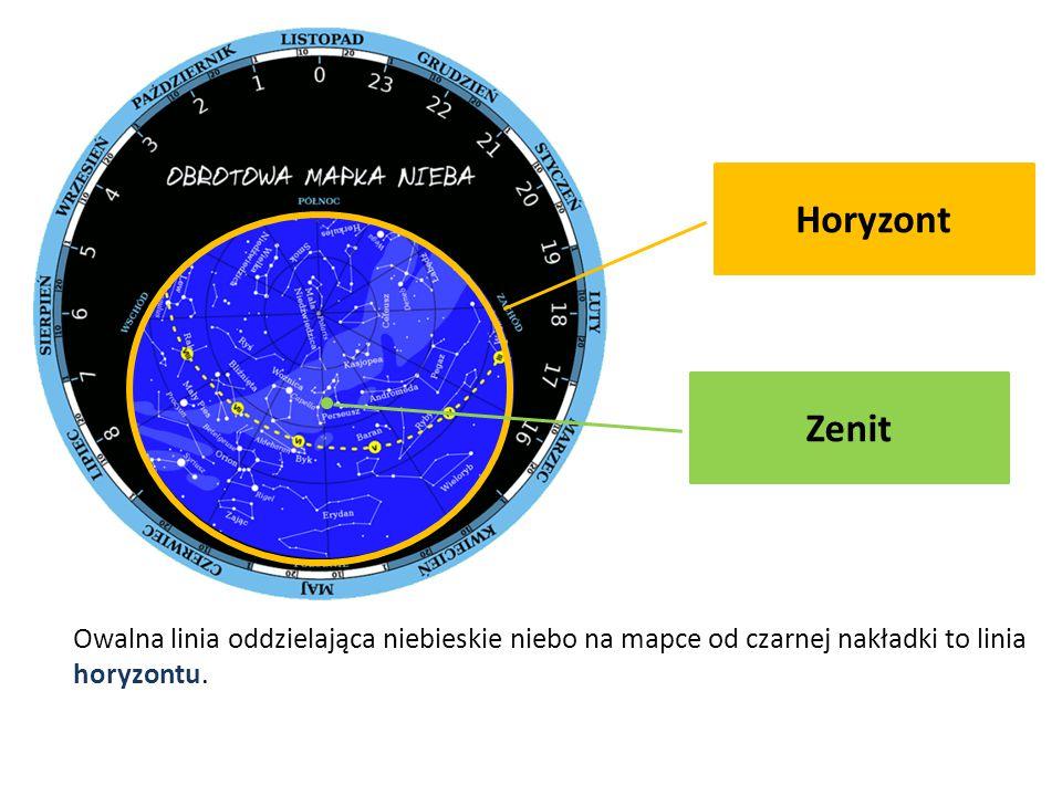 Horyzont Owalna linia oddzielająca niebieskie niebo na mapce od czarnej nakładki to linia horyzontu. Zenit