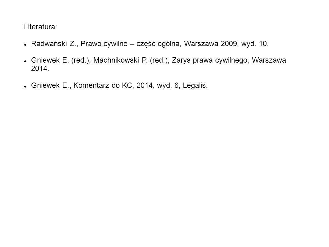 Literatura: Radwański Z., Prawo cywilne – część ogólna, Warszawa 2009, wyd. 10. Gniewek E. (red.), Machnikowski P. (red.), Zarys prawa cywilnego, Wars